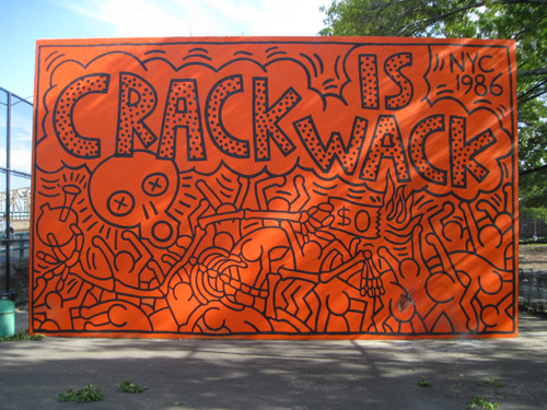 Ny fashion week spring 2012 vogue features harlem mural for Crack is wack keith haring mural
