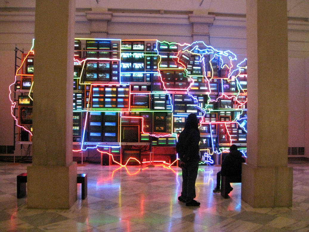 Nam June Paik Creates A Cultural Map Of The United States Using Neon - Cultural-map-of-the-us