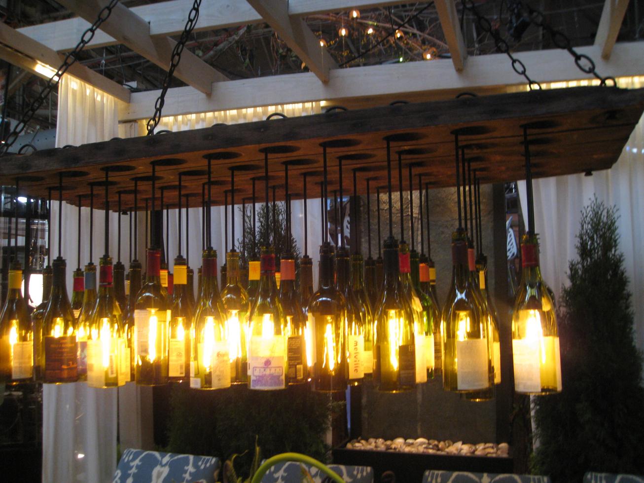 Distinctive chandeliers featured at architectural digest home design show arts observer - Wine bottle light fixture chandelier ...